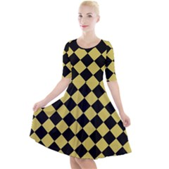 Block Fiesta Black And Ceylon Yellow Quarter Sleeve A-line Dress by FashionLane