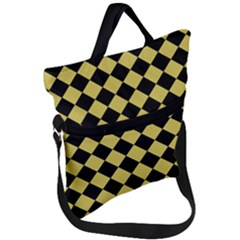 Block Fiesta Black And Ceylon Yellow Fold Over Handle Tote Bag by FashionLane