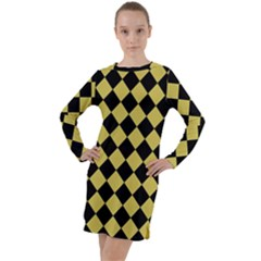 Block Fiesta Black And Ceylon Yellow Long Sleeve Hoodie Dress