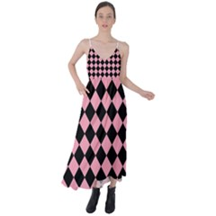 Block Fiesta Black And Flamingo Pink Tie Back Maxi Dress