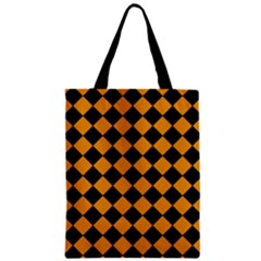 Block Fiesta Black And Honey Orange Zipper Classic Tote Bag by FashionLane