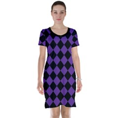 Block Fiesta Black And Imperial Purple Short Sleeve Nightdress