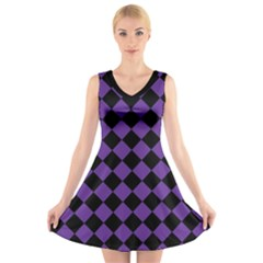 Block Fiesta Black And Imperial Purple V-neck Sleeveless Dress by FashionLane