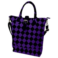 Block Fiesta Black And Imperial Purple Buckle Top Tote Bag by FashionLane