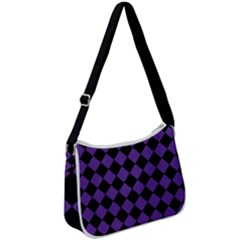 Block Fiesta Black And Imperial Purple Zip Up Shoulder Bag by FashionLane
