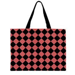 Block Fiesta Black And Indian Red Zipper Large Tote Bag by FashionLane