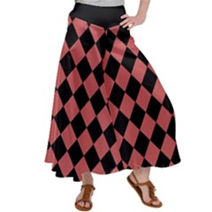 Block Fiesta Black And Indian Red Satin Palazzo Pants by FashionLane