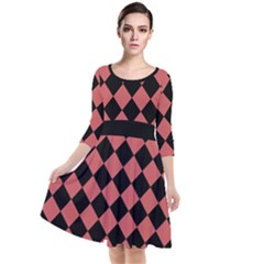 Block Fiesta Black And Indian Red Quarter Sleeve Waist Band Dress by FashionLane