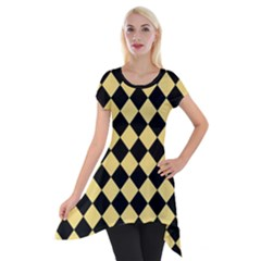 Block Fiesta Black And Mellow Yellow Short Sleeve Side Drop Tunic by FashionLane
