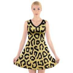 Ghepard Gold  V-neck Sleeveless Dress