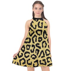 Ghepard Gold  Halter Neckline Chiffon Dress