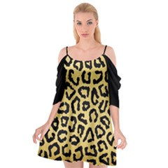 Ghepard Gold  Cutout Spaghetti Strap Chiffon Dress