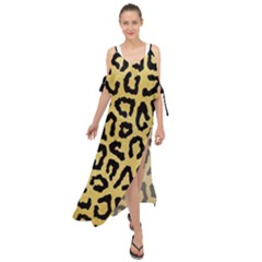 Ghepard Gold  Maxi Chiffon Cover Up Dress