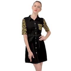 Ghepard Gold  Belted Shirt Dress