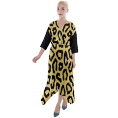 Ghepard Gold  Quarter Sleeve Wrap Front Maxi Dress by AngelsForMe
