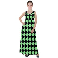 Block Fiesta Black And Mint Green Empire Waist Velour Maxi Dress by FashionLane