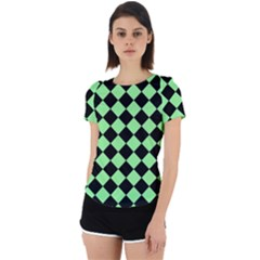 Block Fiesta Black And Mint Green Back Cut Out Sport Tee