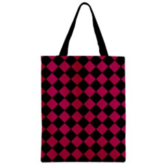 Block Fiesta Black And Peacock Pink Zipper Classic Tote Bag by FashionLane