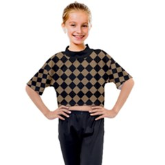 Block Fiesta Black And Tortilla Brown Kids Mock Neck Tee