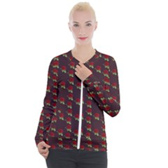 Rose Maroon Casual Zip Up Jacket