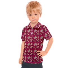 Robin Art Red Pattern Kids  Polo Tee
