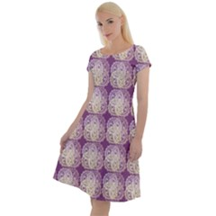 Doily Only Pattern Purple Classic Short Sleeve Dress