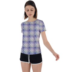 Doily Only Pattern Blue Back Circle Cutout Sports Tee