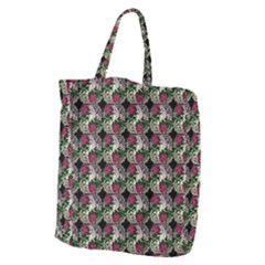 Doily Rose Pattern Black Giant Grocery Tote