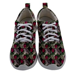 Doily Rose Pattern Black Women Athletic Shoes by snowwhitegirl
