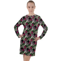 Doily Rose Pattern Black Long Sleeve Hoodie Dress