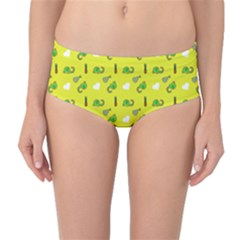 Green Elephant Pattern Yellow Mid-waist Bikini Bottoms by snowwhitegirl