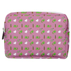 Green Elephant Pattern Mauve Make Up Pouch (medium)