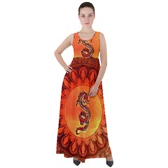 Wonderful Chinese Dragon Empire Waist Velour Maxi Dress by FantasyWorld7