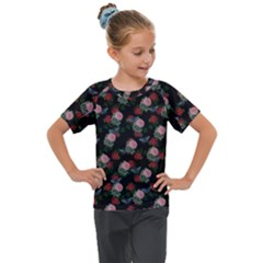 Dark Floral Butterfly Black Kids  Mesh Piece Tee