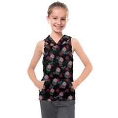 Dark Floral Butterfly Black Kids  Sleeveless Hoodie by snowwhitegirl