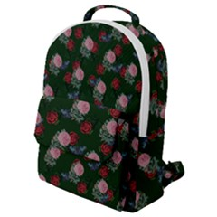 Dark Floral Butterfly Green Flap Pocket Backpack (small)