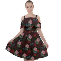 Dark Floral Butterfly Burgundy Cut Out Shoulders Chiffon Dress