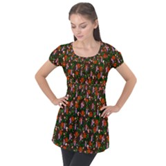 Fiola Pattern Brown Puff Sleeve Tunic Top by snowwhitegirl
