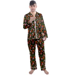 Fiola Pattern Brown Men s Satin Pajamas Long Pants Set by snowwhitegirl