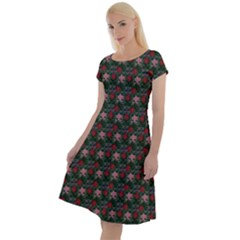 Dark Floral Butterfly Teal Bats Lip Green Small Classic Short Sleeve Dress