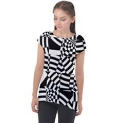 Black And White Crazy Pattern Cap Sleeve High Low Top by Sobalvarro