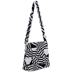 Black And White Crazy Pattern Zipper Messenger Bag by Sobalvarro
