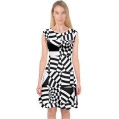 Black And White Crazy Pattern Capsleeve Midi Dress by Sobalvarro