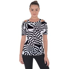 Black And White Crazy Pattern Shoulder Cut Out Short Sleeve Top by Sobalvarro