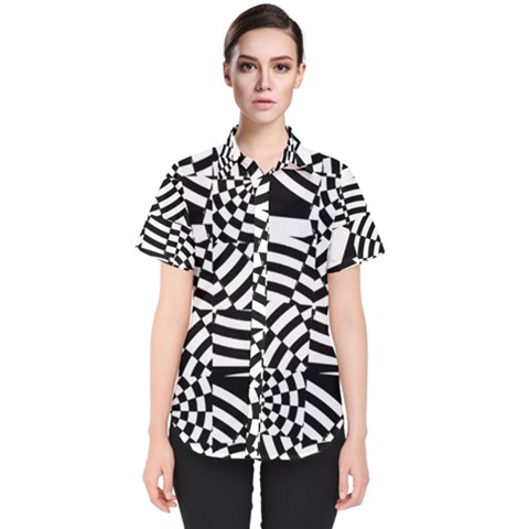 Black And White Crazy Pattern Women s Short Sleeve Shirt by Sobalvarro