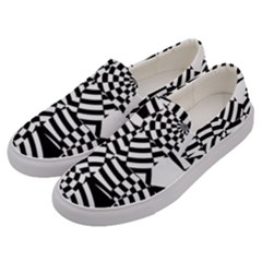 Black And White Crazy Pattern Men s Canvas Slip Ons by Sobalvarro
