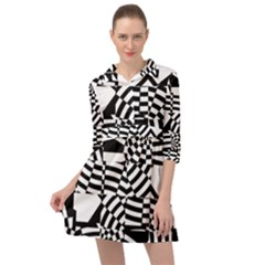 Black And White Crazy Pattern Mini Skater Shirt Dress by Sobalvarro