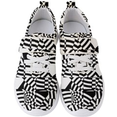 Black And White Crazy Pattern Men s Velcro Strap Shoes by Sobalvarro