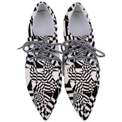 Black And White Crazy Pattern Women s Pointed Oxford Shoes by Sobalvarro