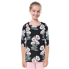 Floral Vintage Wallpaper Pattern 1516863120hfa Kids  Quarter Sleeve Raglan Tee